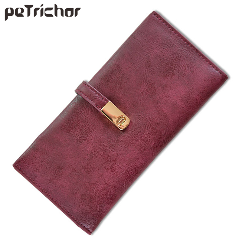 Vintage Style Magnetic Women Wallet Synthetic Leather Ladies Long Clutch Carteir