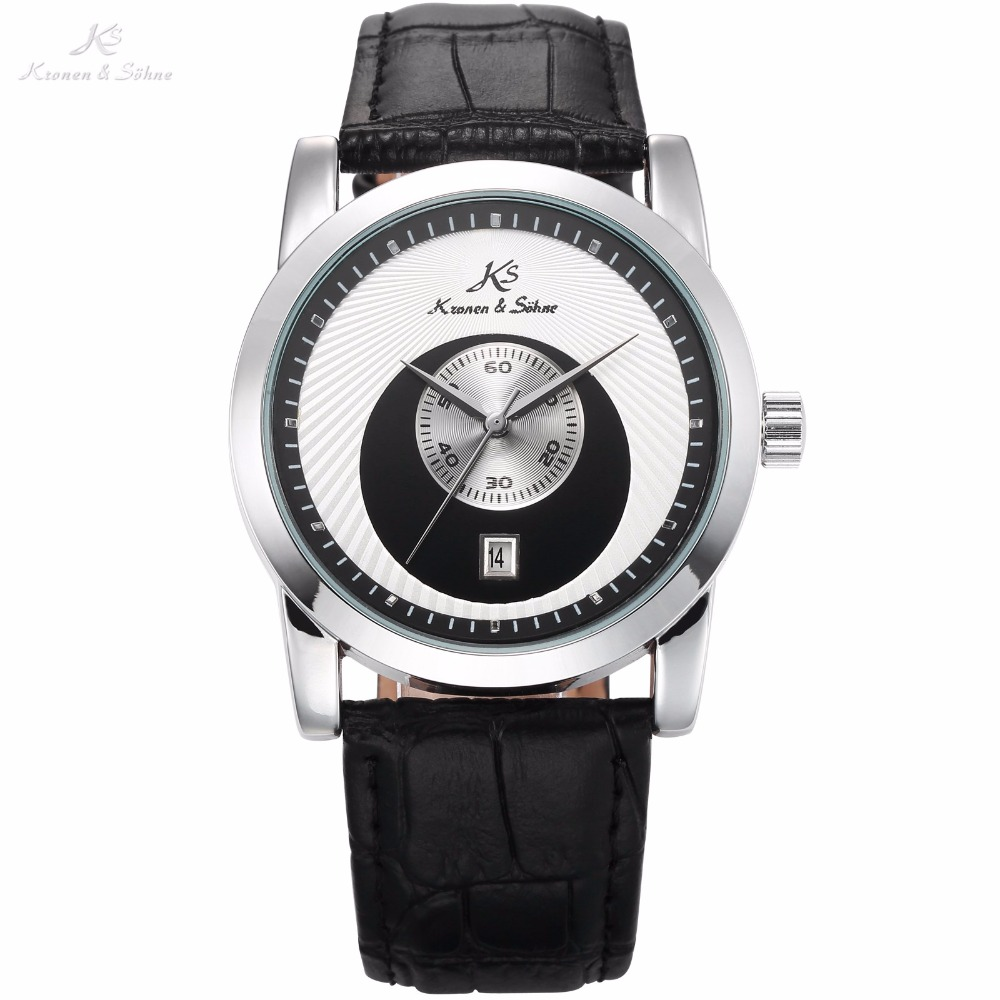 KS Brand Black White Round Special Analog Automatic Men Mechanical Watch Round Date Display Leather Strap Timepiece Gift / KS331 doratasia big size 34 43 women half knee high boots vintage flat heels warm winter fur shoes round toe platform snow boots