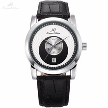 KS Brand Black White Round Special Analog Automatic Men Mechanical Watch Round Date Display Leather Strap Timepiece Gift / KS331