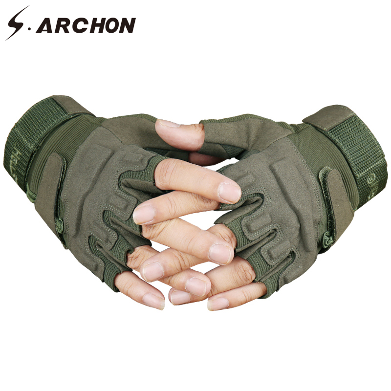 S.ARCHON US Army Tactical Fingerless Gloves Men Anti-Skid Half Finger Military Shooting Mittens Male SWAT Fighting Combat Glove