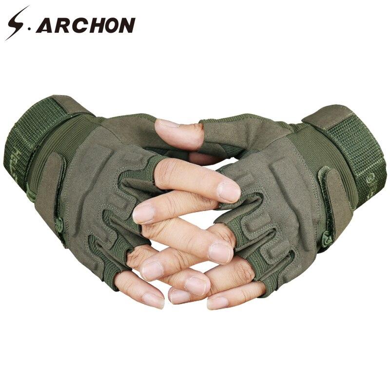 S. ARCHON US ejército táctico guantes sin dedos hombres antideslizante medio dedo militar guantes de disparo hombres SWAT lucha guante de combate