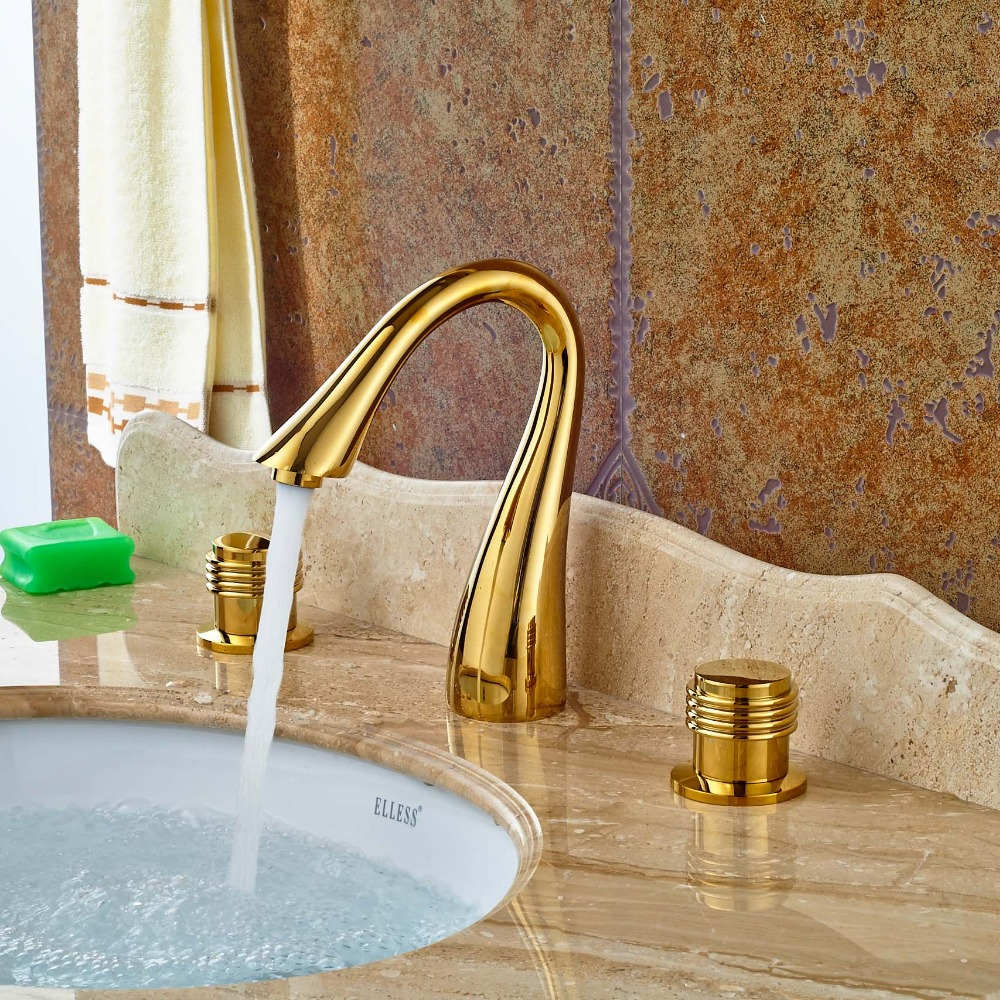 ⑥Luxury Gold Finish Bathroom Sink Faucet 3pcs Bathroom Basin Faucet ...
