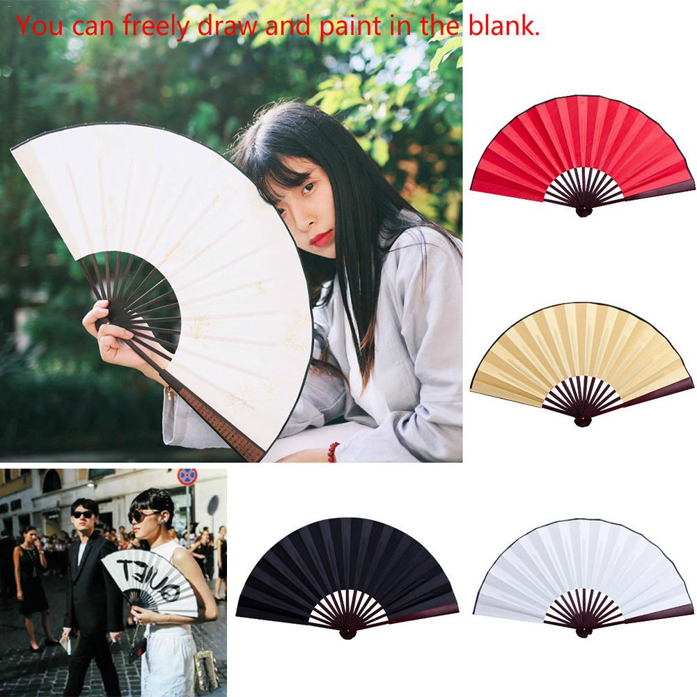 8/10 Inch Pattern Folding Dance Wedding Party Lace Silk Folding Hand Held Solid Color Fan Hand Hold Dance Fans Flower Party Gift