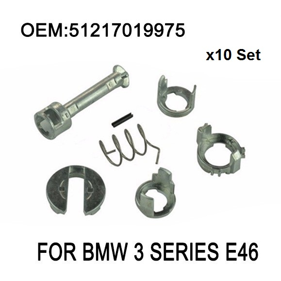 x10 Set For BMW 3 Series E46 DOOR LOCK LOCK CYLINDER REPAIR KIT FRONT LEFT OR RIGHT OE 51217019975 New free shipping car lock cylinder repair kit for bw e46