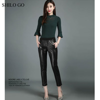 SHILO GO Leather Pants Womens Autumn Fashion sheepskin genuine leather Pants elastic high waist sexy zipper trousers pencil pant