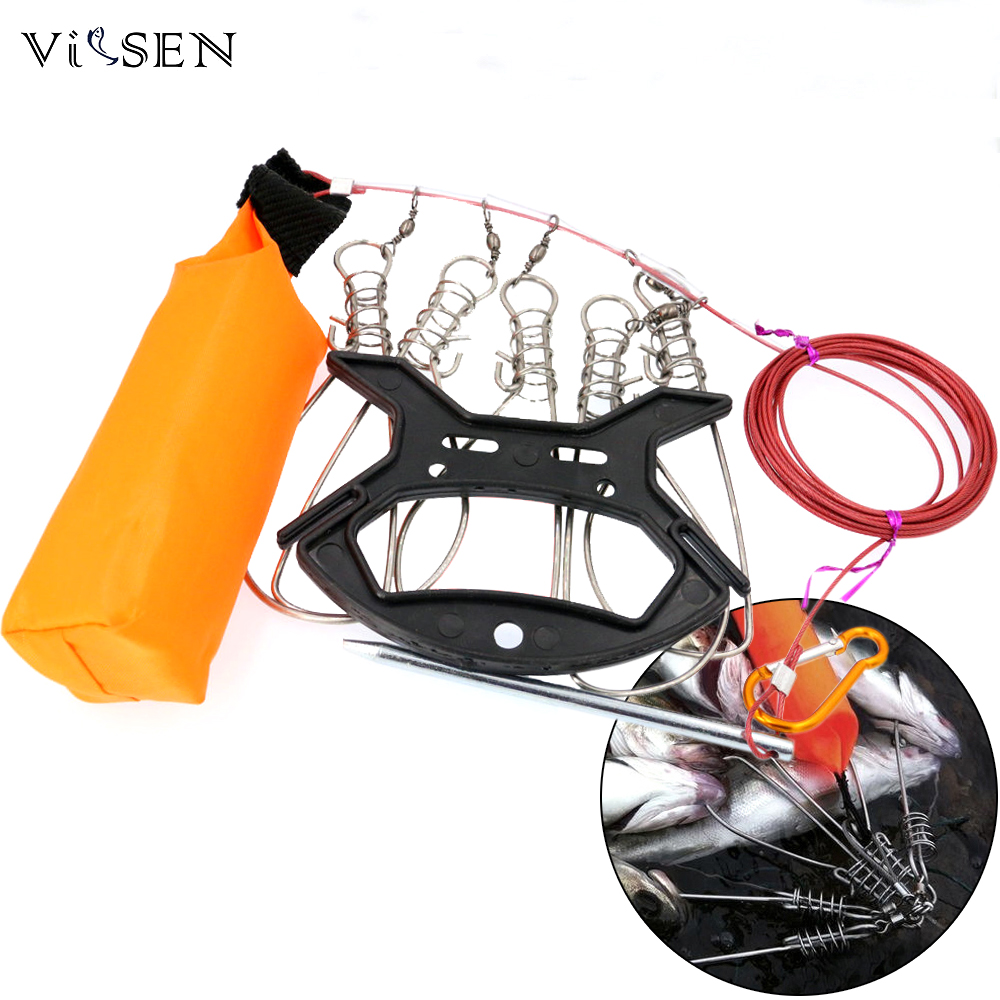 Vissen 3.8M Kukan Fishing Lock Buckle fishing accessories Stainless Steel 5 Snaps Chain Stringer With Float Live Fish Lock belt