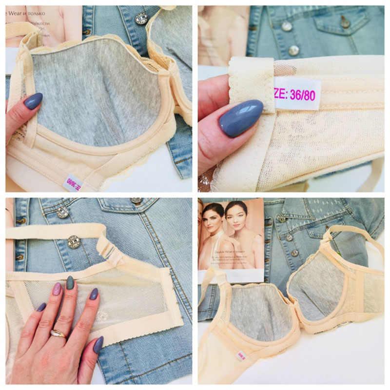 b5340ddff256db ... Murushe 3 4 Plus Size Bra Ladies Sexy Cotton Lace Bralette Underwire  Adjustable Push Up