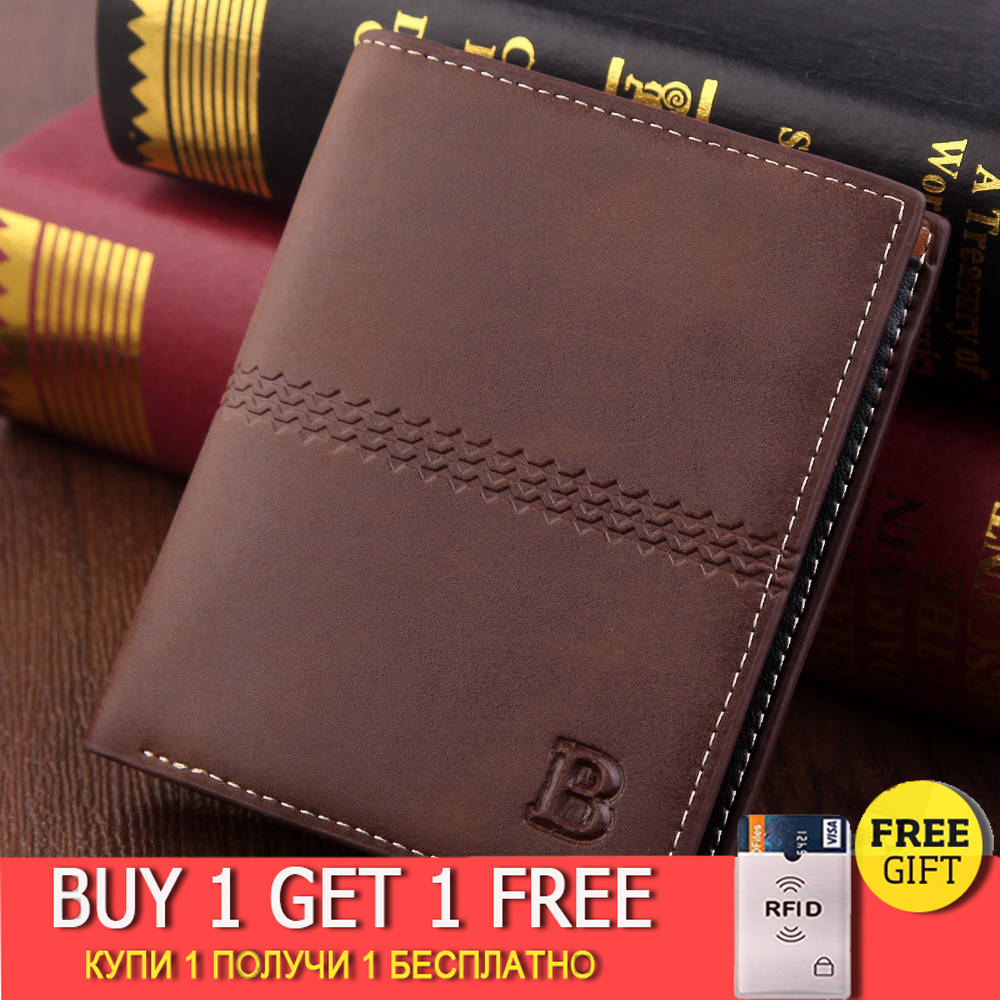 Men's Wallet Vintage Brown Dollar Short Slim Carteira Masculina Erkek Cuzdan Billetera Hombre No Zipper Wallet Men B Purse