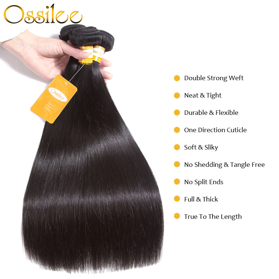 Ossilee Straight Hair Bundles Brazilian Hair Extentions Machine Double Weft 100% Remy Human Hair 1/3/4 PCS Natural Color Bundle