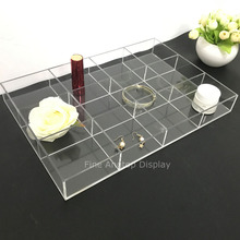 Clear Acrylic Jewelry Tray Display Holder for Earrings, Rings, Necklaces, Jewelry, Cufflinks With 12 Small Compartments