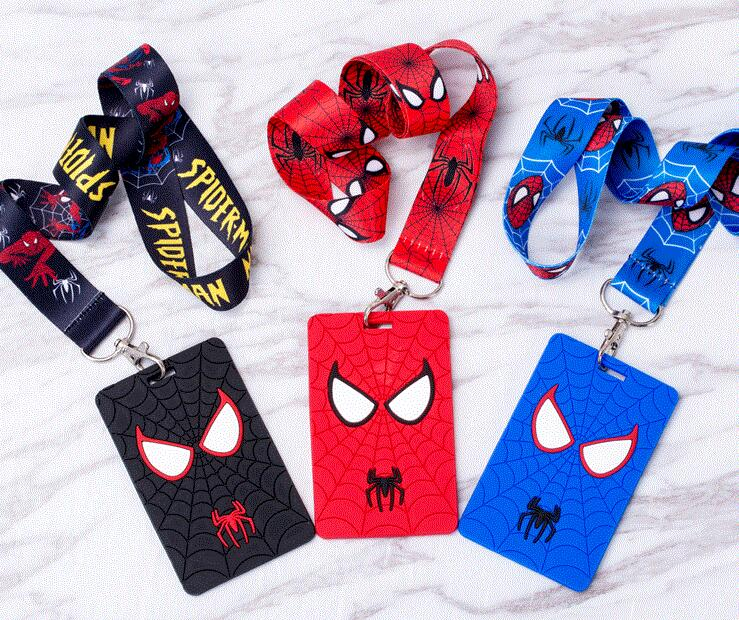 New Retail  1pcs  Cartoon  Spiderman  Lanyard Key Chains Card Holders Bank Card Neck Strap Card Bus ID Holders M100