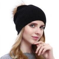 מינק מזדמן צמר סרוג 2017 חורף מינק כובע פרווה עם אמיתי יש כובע Pompom פרווה מוצק רגיל סקי Gorros נחמד אופנה 8 צבעים