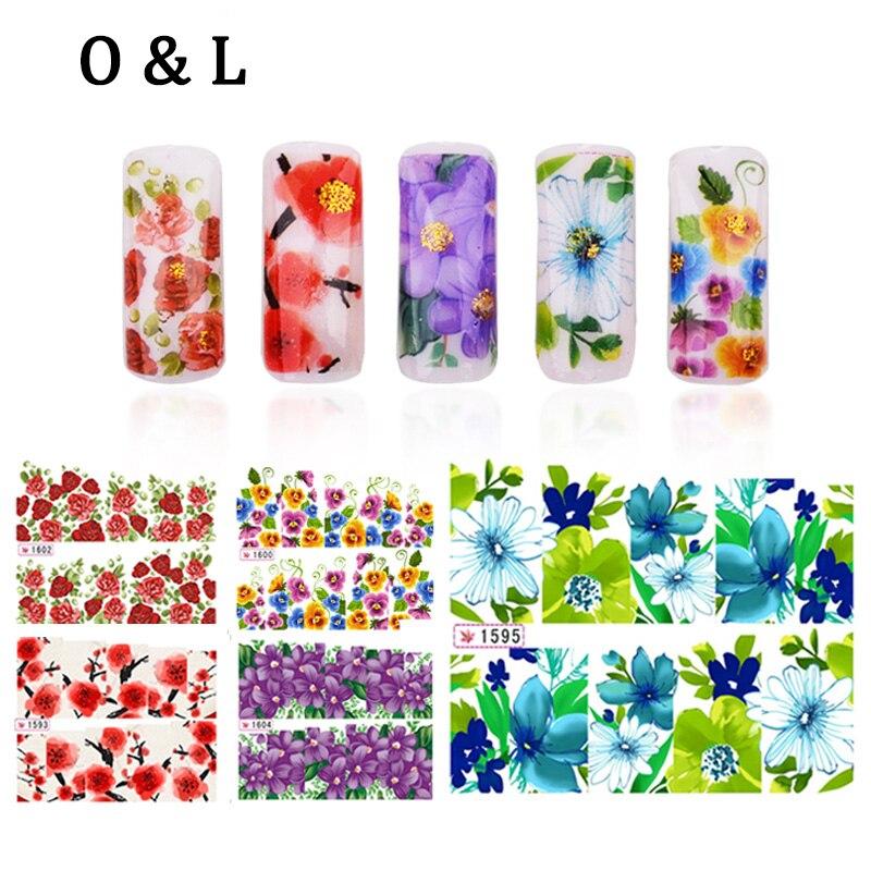 Water Transfers font b Nail b font Decals 12pcs lot Flower Design font b Nail b