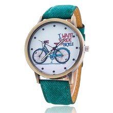 2017 Fashion Quartz Watch Cartoon Pattern Bicycle Watch Women Girls Children Gifts Vintage Casual Leather Wristwatches