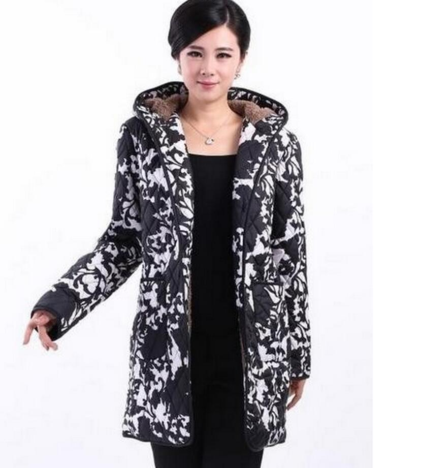 women   basic     Jacket   coat fashion female models in the long section middle-aged mother cotton hooded coat big yards coats   jackets