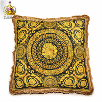 High end luxury royal europe rich french italy new design print rococo gold red wedding cushion covers pillow case