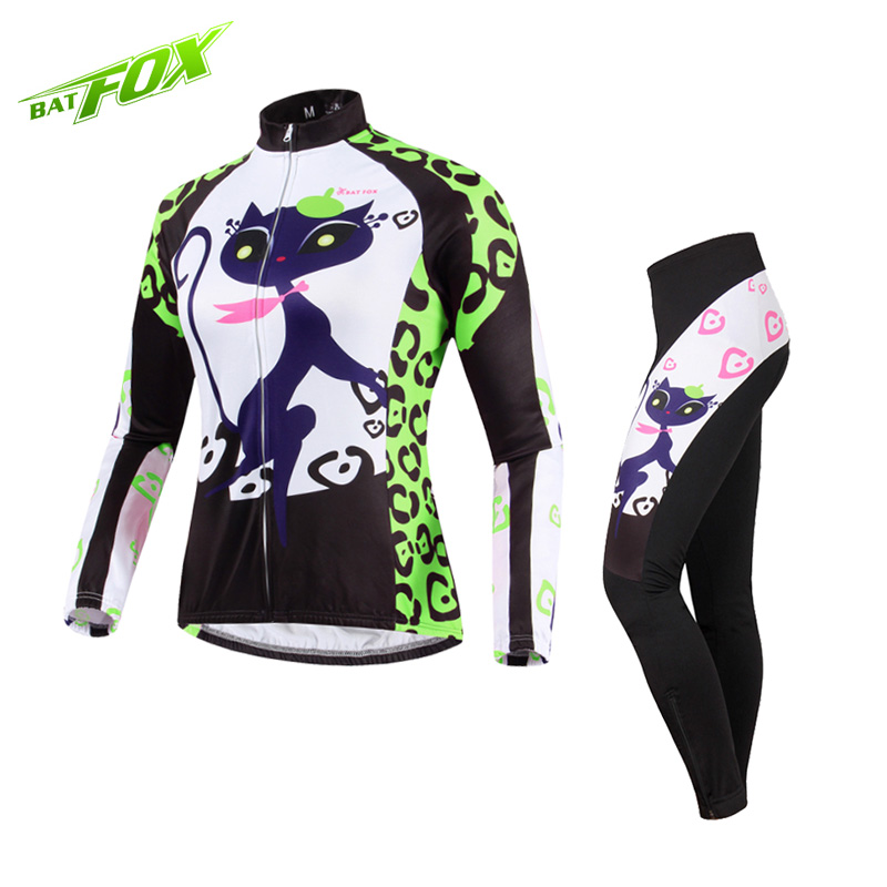BATFOX Cycling jersey autumn long sleeved breathable women cycling sets 2017 pro team MTB Mountain Bicycle Bike Cycling Clothing leobaiky 2018 pro long sleeve cycling jersey sets breathable 3d padded sportswear mountain bicycle bike apparel cycling clothing