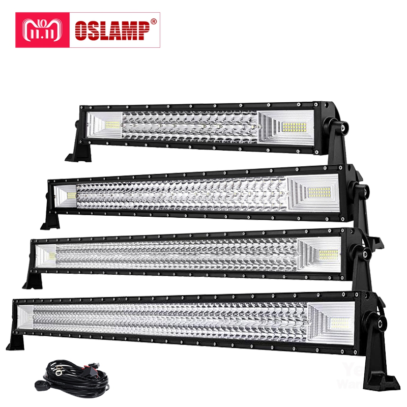 Oslamp Tri Row 22 34 42 50 Straight LED light bar 12v 24v combo beam LED Bar Offroad camper truck 4x4 4WD SUV ATV Barra