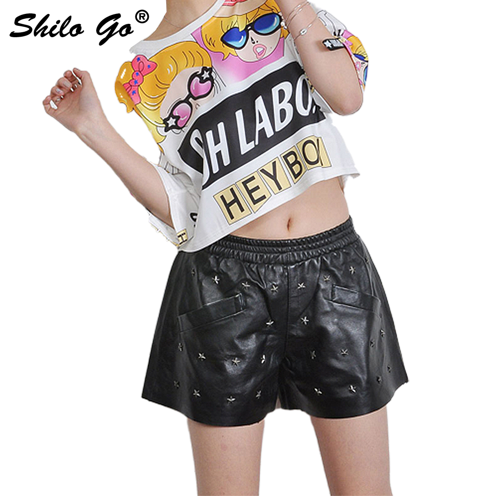 SHILO GO Leather Shorts Womens Spring Fashion Sheepskin Genuine Leather Shorts Star Rivet Side Pocket Casual Wide Leg Shorts
