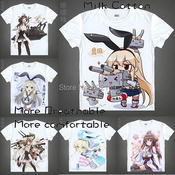 70c05f201a 2015 Único Anime T-shirt dos homens 3d Impressão meninas Kantai Coleção  Frota Cosplay T
