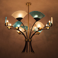 Classical Chandelier China Led Lamp Fan Suspension Lamp Blue For Living Room Bedroom Restaurant Home Chandelier Lighting H102