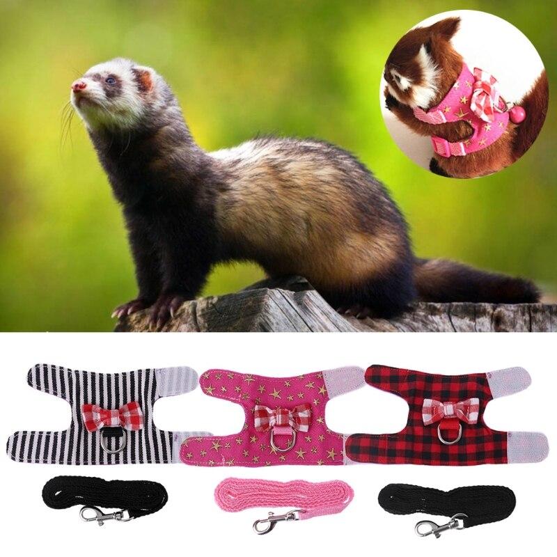Small Pet Harness Vest Leash Set Ferret Guinea Pig Hamster Chest Strap Harness SD-JQ