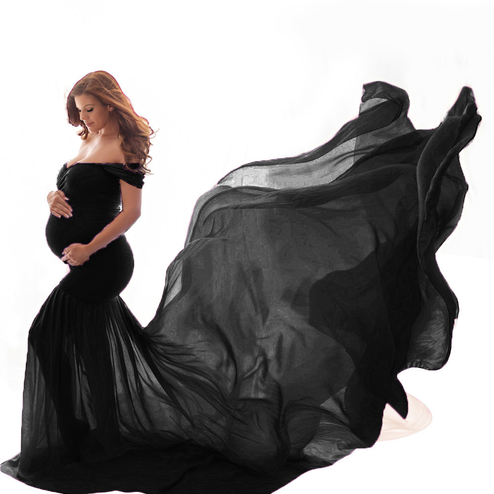 New Maternity Photography Prop Pregnancy Cloth Cotton Chiffon Maternity Off Shoulder Half Circle Gown Photo Shoot Pregnant Dress (2)