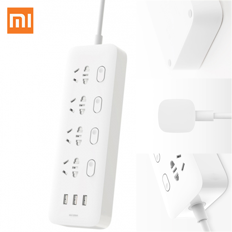Оригинальная Xiaomi Mi розетка с разъемом питания 4 порта 4 переключателя подуправления 3 разъема USB Quick Charge 2,0 удлинитель для двери безопасности