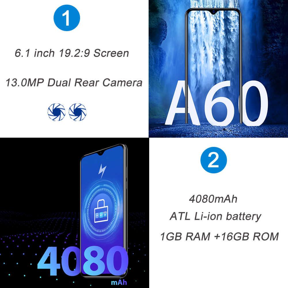 Blackview A60 Smartphone Quad Core Android 8.1 4080mAh téléphone portable 1GB + 16GB 6.1 pouces 19.2: 9 écran double caméra 3G téléphone portable