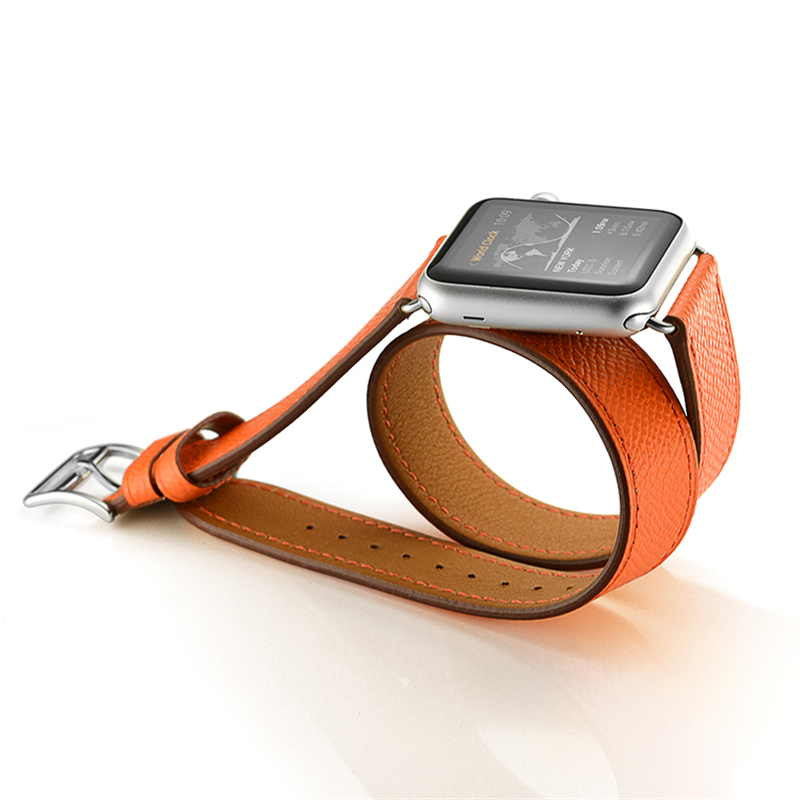 Series 2 Series1 Double Tour Watchband for iWatch Apple Watch 38mm 42mm Genuine Leather Band Replacement Belt Bracelet Straps kakapi crocodile skin genuine leather watchband with connector for apple watch 38mm series 2 series 1 pink