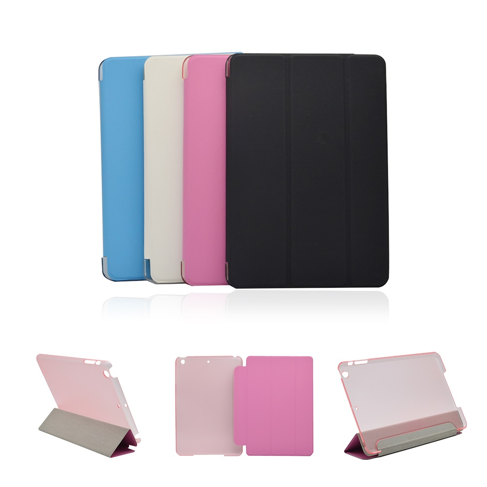 New Ultra Slim Tri-Fold PU Leather Case with Crystal Hard Back Smart Stand Case Cover for iPad Mini 1 2 3 7.9