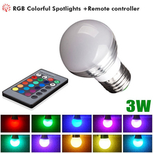 3W Led RGB bulb Lamp E27 Colorful Atmosphere Plastic Bag Aluminum Bulb, With Remote Control Color Changing lamp