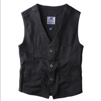 Blazer Vest Mens Denim Vests Single Breasted Sleeveless Jean Jacket New Gilet Men Vintage Slim Fit