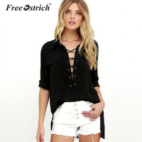 Free Ostrich New Fashion Women Blouse Solid Long Sleeve Side Split Lace Up Blouse Basic Casual