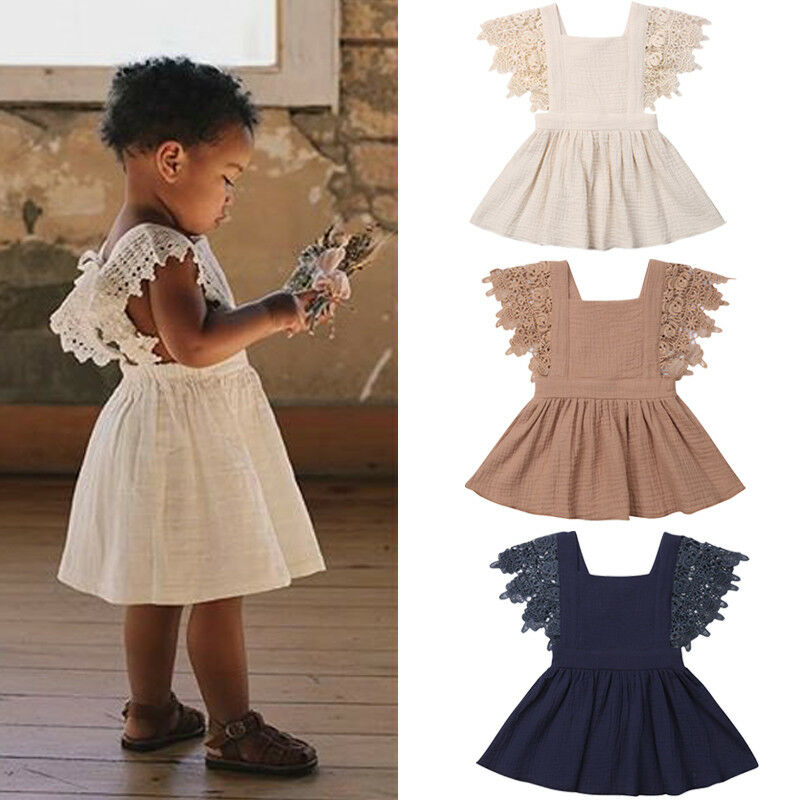 0-3 Months Toddler Baby Girl Cotton Linen Dress Lace Ruffle Tassel Sleeves Splice Backless Bandage Fashion Casual Summer Clothes(China)