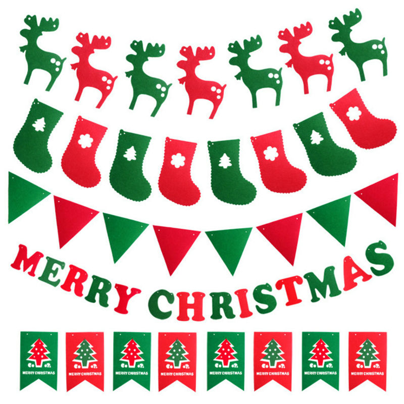 Happy New Year For 2019 Christmas Decorations Elk Socks Tree Banner Flags Hanging Ornaments Supplies SD116