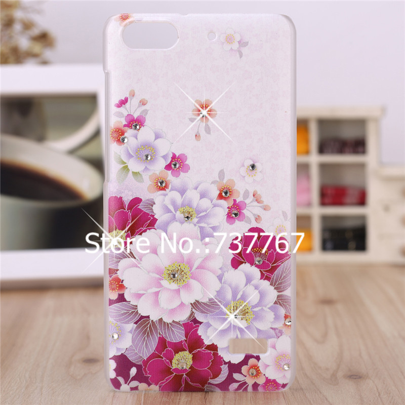 untuk Huawei G Play Mini 4C C8818 Honor 5 Crystal Diamond 3D Bling Hard Plastic Cover Case Untuk Huawei 4C Honor Cell Phone Case
