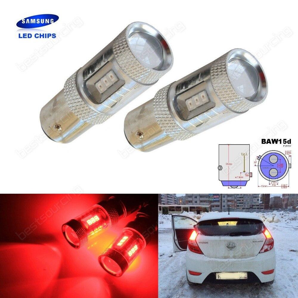 все цены на 2x Red 567 PR21/5W BAW15d SAMSUNG LED Fog Tail Stop Brake Indicator Light Bulb(CA317) онлайн