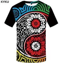 купить KYKU Yin Yang T-shirt Men Gossip Anime Clothes Colorful Tshirt Printed Flower T-shirts 3d Tshirts Casual Mens Clothing Summer дешево