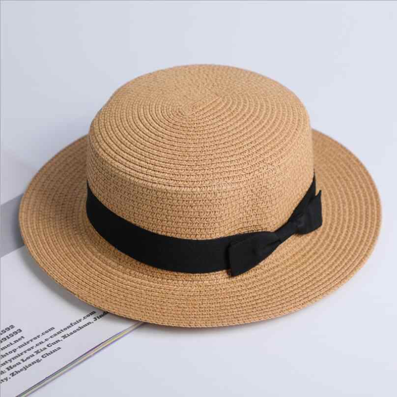 2f85f91ab6725 ... Lady Boater sun caps Ribbon Round Flat Top Straw Fedora Panama Hat  summer hats for women
