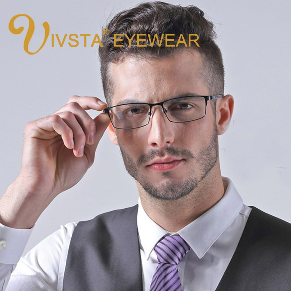IVSTA Spectacle Frame Eyeglasses Optical Glasses Men Reading Square Rectangle Male Myopia Custom Prescription Alloy Metal TR90