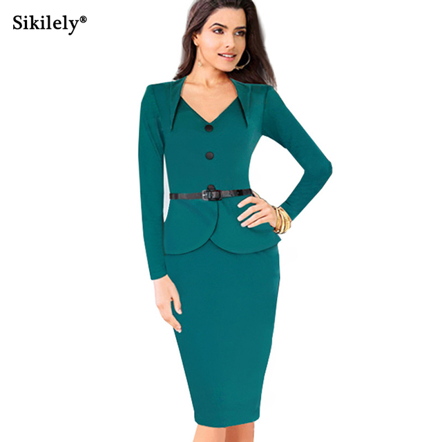 97e567a5d5 2017 Autumn Bodycon Pencil Dress Full Sleeve Knee Length Buttons Work Dress  Office Lady Elegant Business Vestido Green Red