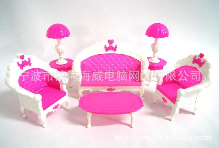 Hadiah kanak-kanak plastik sofa vintaj meja sofa sofa 6 item / Set - Anak patung dan aksesori - Foto 1