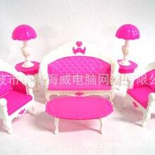 Regalo de bebé niña de plástico sofá clásico sofá lámpara de escritorio 6 artículos/Set accesorios de Casa muebles para Barbie doll para alta monstruo