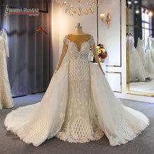 2020 שמלות כלה יוקרה מלא ואגלי בת ים שמלות כלה עם נתיק רכבת