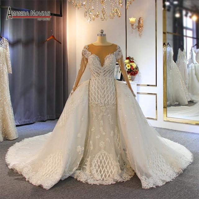 2020 ウェディングドレス高級フルビーズ人魚のウェディングドレスで列車