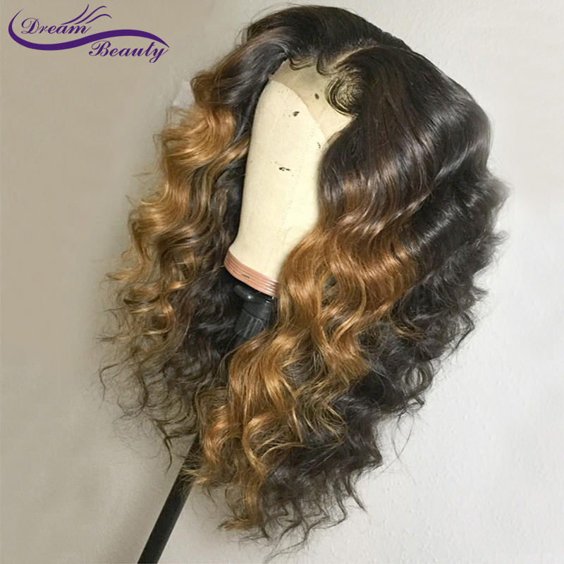 Dream Beauty Ombre Color Wavy Lace Front Human Hair Wigs With Baby Hair Ombre Brazilian Remy Hair Lace Wigs Side Part
