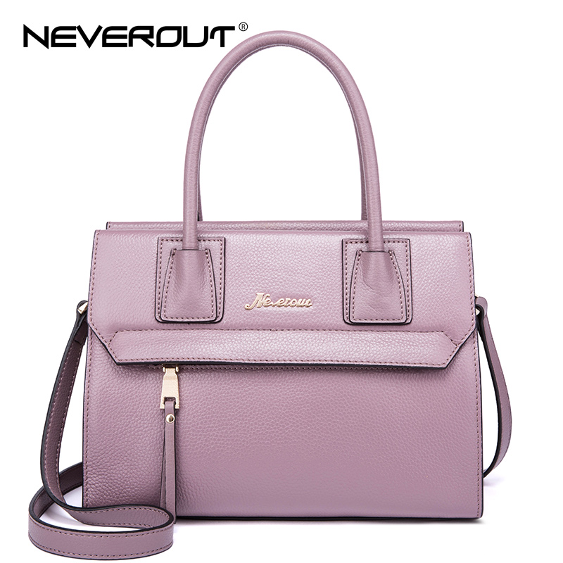 NeverOut Elegant Handbags for Women Genuine Leather Handbag Ladies Brand Name Bag High Quality Top-Handle Tote Shoulder Bags Sac 2017 women handbags ladies leather commuter office tote bag high quality women bag