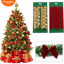 12PCS/LOT Christmas Bows Ornaments Xmas Decoration Tree Decorations For Home Gifts Deals
