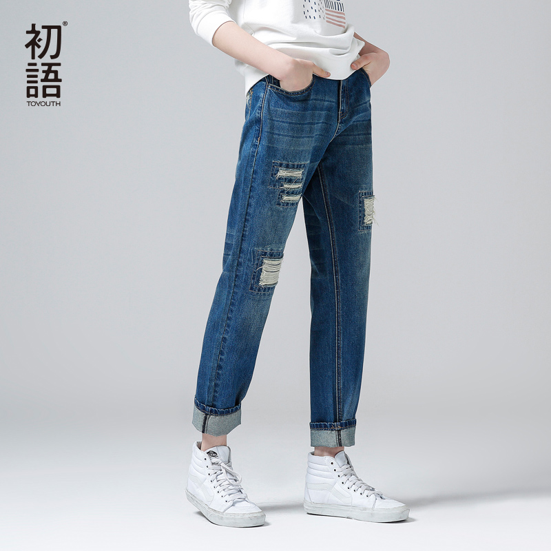 Toyouth джинсы 2018 новые весенние Для женщин Жан брюки Повседневное свободные рваные патч Прямые джинсы брюки